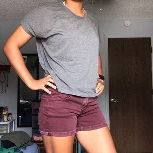 AEO Midi Rise Maroon Shorts